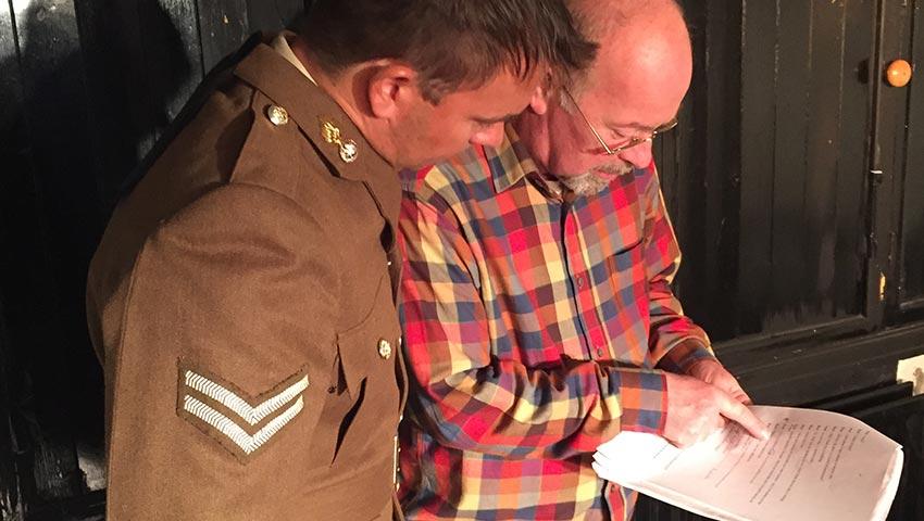 Darren Cheek and Rob Swinton in rehearsals for The Door