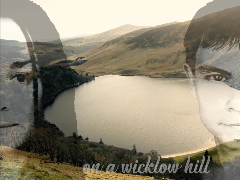 Maria McAteer and Darren Cheek superimposed on a background of the Wicklow Mountains, Ireland
