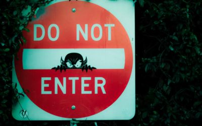 Do not enter road sign, with a demon chad peering out of the centre of the sign