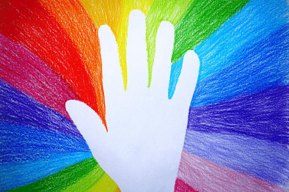 Hand in rainbow